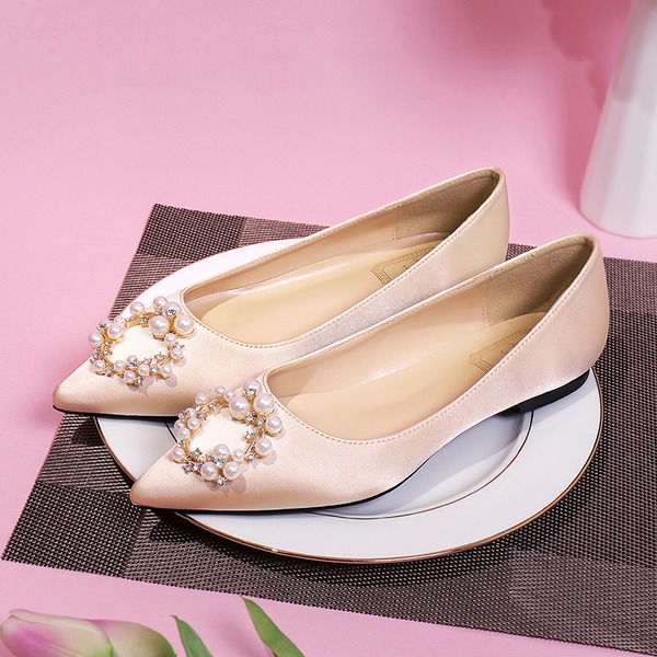 Women's Silk Like Satin Flat Heel Closed Toe Flats With Crystal Pearl