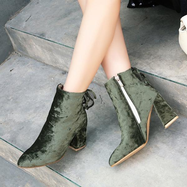 Mulheres Camurça Salto robusto Bombas Botas Bota no tornozelo com Zíper Aplicação de renda sapatos