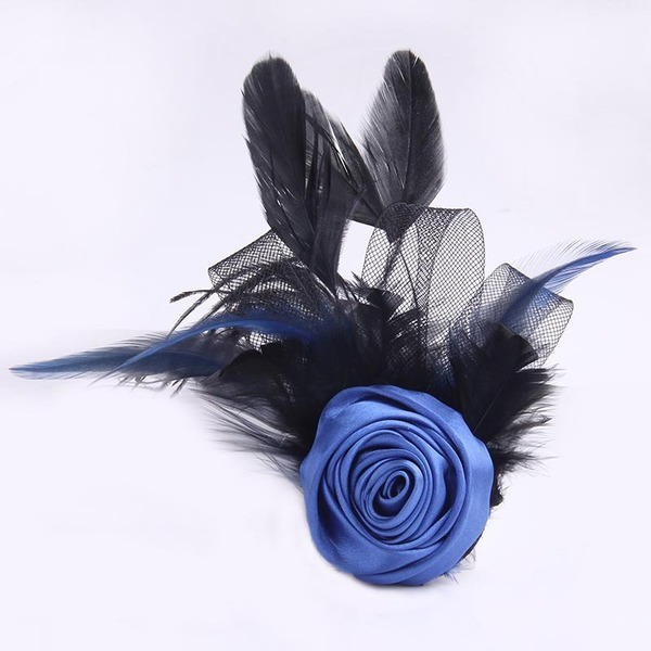 Unique Sunflower Satin/Tulle/Feather Boutonniere (Sold in a single piece) - Boutonniere