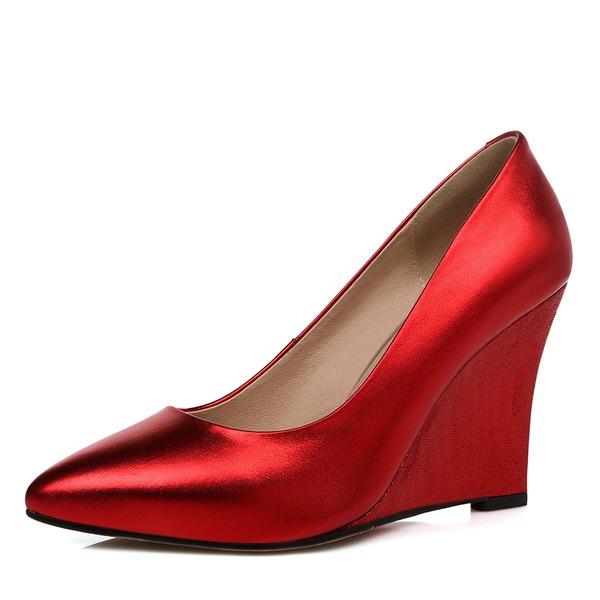 Kvinnor Äkta läder Kilklack Pumps Stängt Toe skor