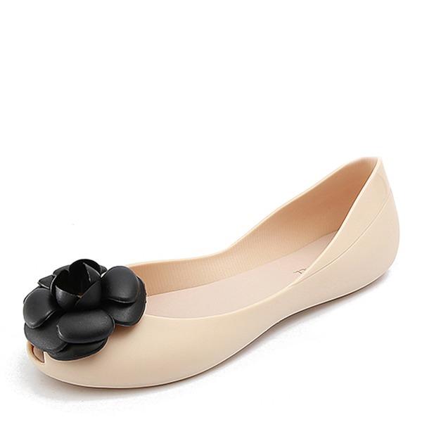 Femmes PVC Chaussures plates À bout ouvert avec Une fleur chaussures