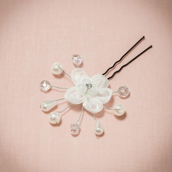 Klasický Drahokamu/Faux Pearl/Net příze Spony do vlasů/Květiny