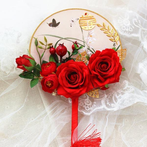 Silk Flower Svatební Ventilátory