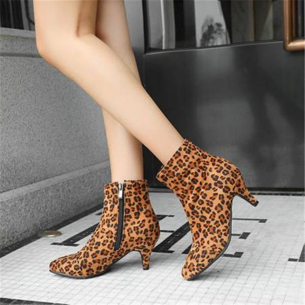 Kadın Süet İnce Topuk Ayak bileği Boots Ile Hayvan baskı Fermuar ayakkabı