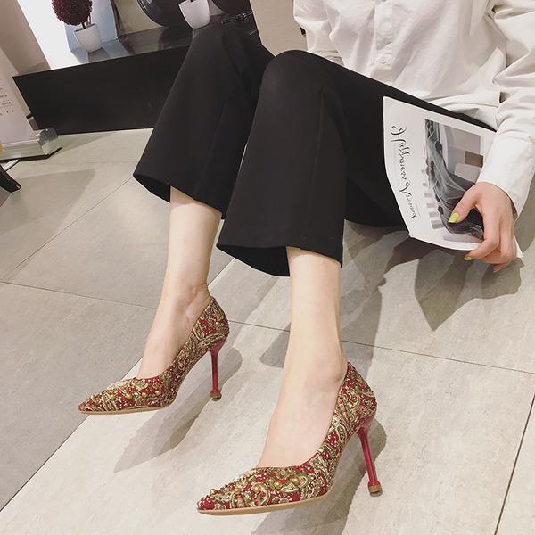 Dla kobiet Skóra z mikrofibry Obcas Stiletto Czólenka Z Nit obuwie