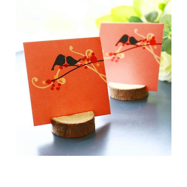 """""""Glad bryllup""""/""""Lykkelig tid"""" Træ Bordkortholdere (Sæt af 4)"""