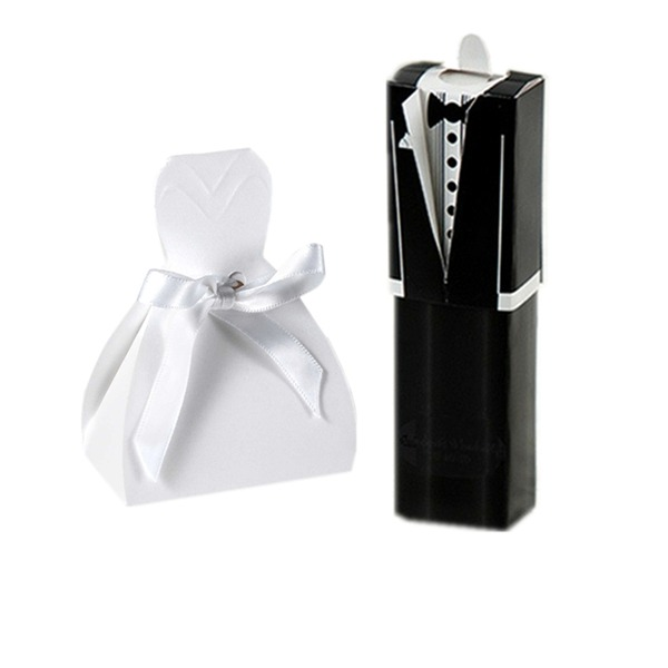 12pcs/set Bride and Groom Wedding Favor Boxes