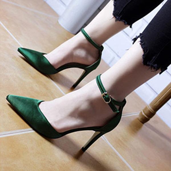 Vrouwen zijde als satijn Stiletto Heel Closed Toe Pumps Sandalen met Gesp