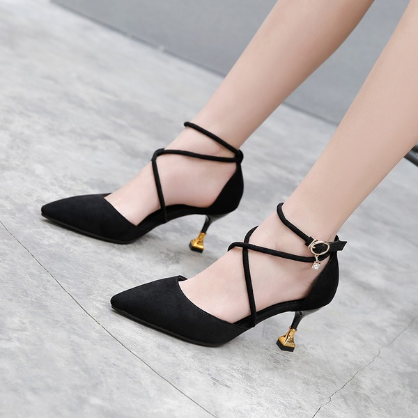Women's Suede Stiletto Heel Sandals Pumps Closed Toe With Buckle shoes
