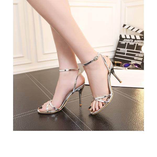 Naisten Kiiltonahka Piikkikorko Sandaalit Avokkaat jossa Solki kengät