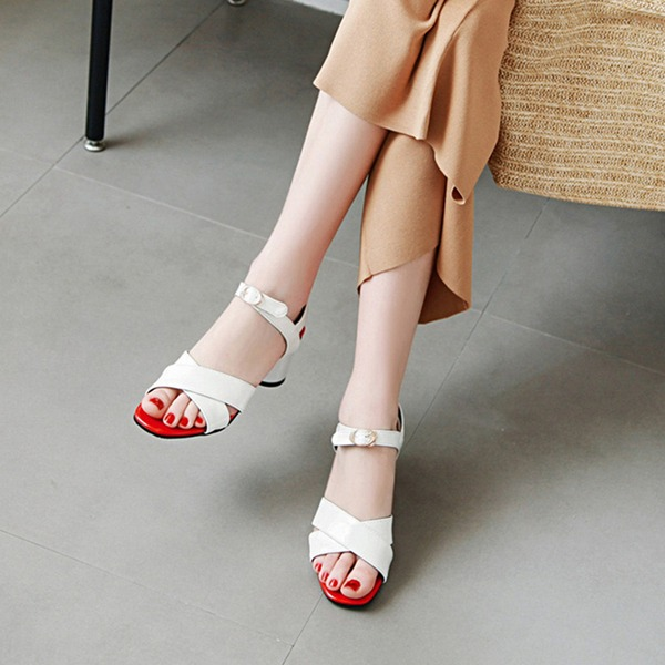Women's PU Chunky Heel Sandals Pumps Peep Toe Slingbacks With Buckle shoes