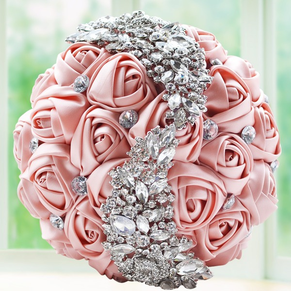 Pretty Round Satin/Rhinestone Bridal Bouquets