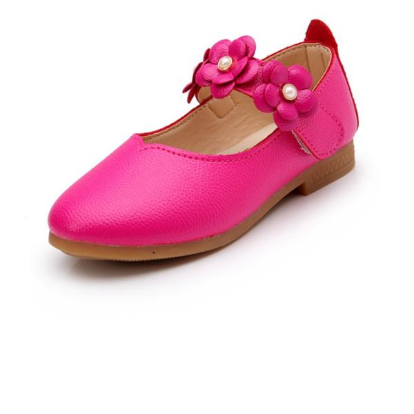 tytön Suljettu toe tekonahka Flat Heel Matalakorkoiset Flower Girl Kengät jossa Tarranauha Kukka