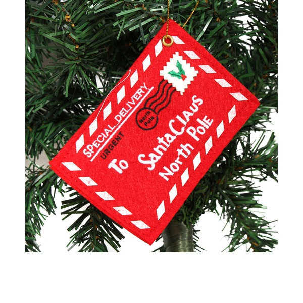 4pcs/set Santa Claus Red Felt Envelope Embroidery Christmas Ornament  (Set of 4) Gifts