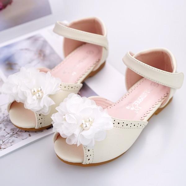 A menina de Peep toe Ballet Flat Microfiber Læder Heel plana Sem salto Sapatas do florista com Beading Velcro Flor