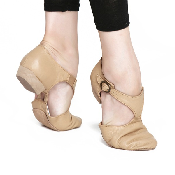 Kadın Gerçek Deri Daireler Jazz Dans Ayakkabıları