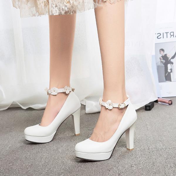 Kadın Suni deri İnce Topuk Pompalar Platform Kapalı Toe Ile Toka Çiçek(ler) ayakkabı