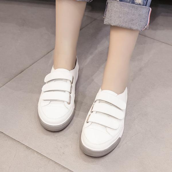 Kadın PU Düz Topuk Daireler Ile Cırt Cırt ayakkabı