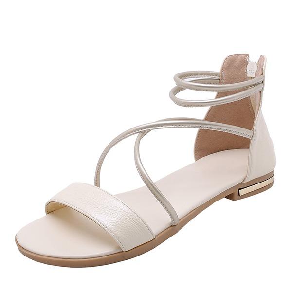 Vrouwen Echt leer Flat Heel Sandalen Flats Peep Toe Slingbacks met Vastrijgen schoenen