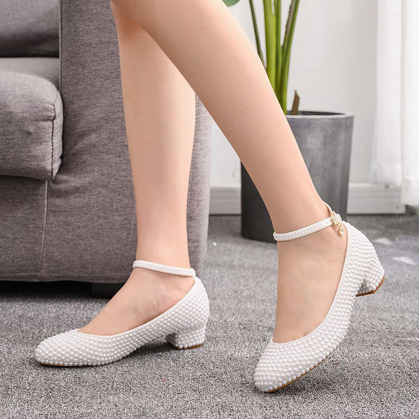 Kids' Leatherette Chunky Heel Closed Toe Pumps MaryJane With Rhinestone