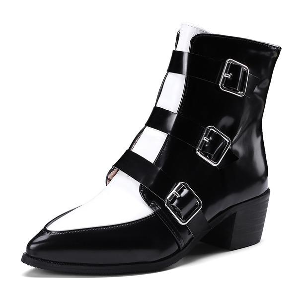 Femmes Cuir verni Talon bottier Bottes Bottes mi-mollets avec Boucle Zip chaussures