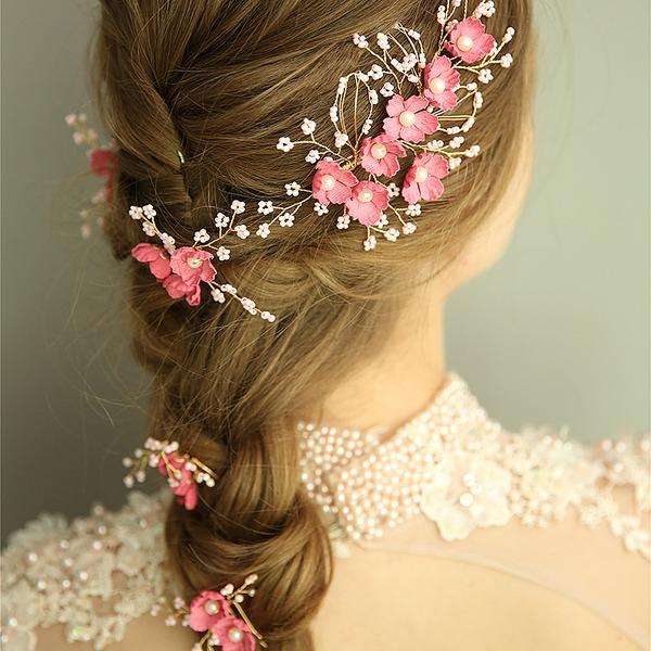 Filles Magnifique Fleur en soie épingles à cheveux avec Perle Vénitienne (Lot de 5)