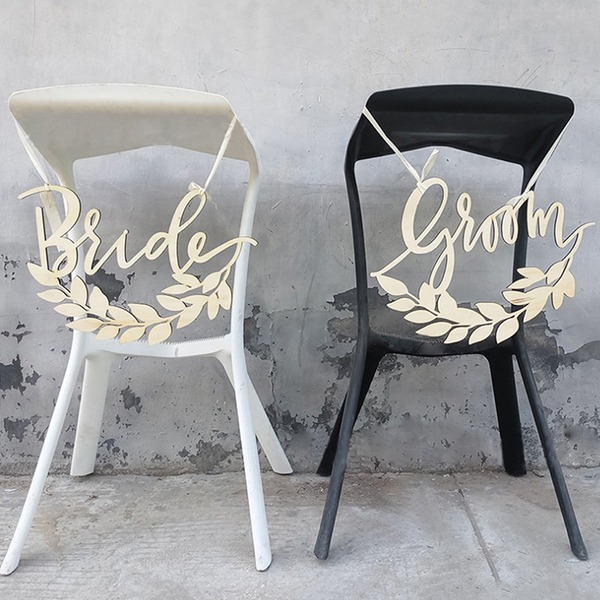 Sposa e Sposo Elegante Legno Wedding Sign (Set di 2)