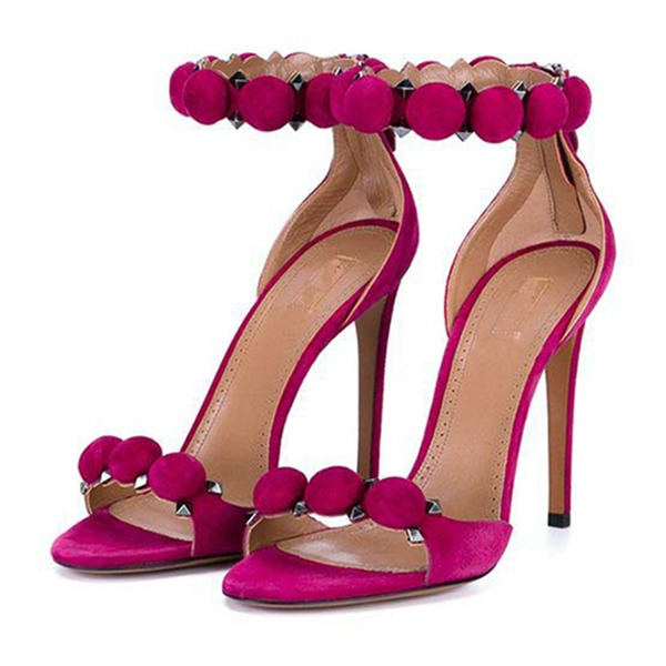 Women's Suede Stiletto Heel Sandals Pumps Peep Toe With Others shoes