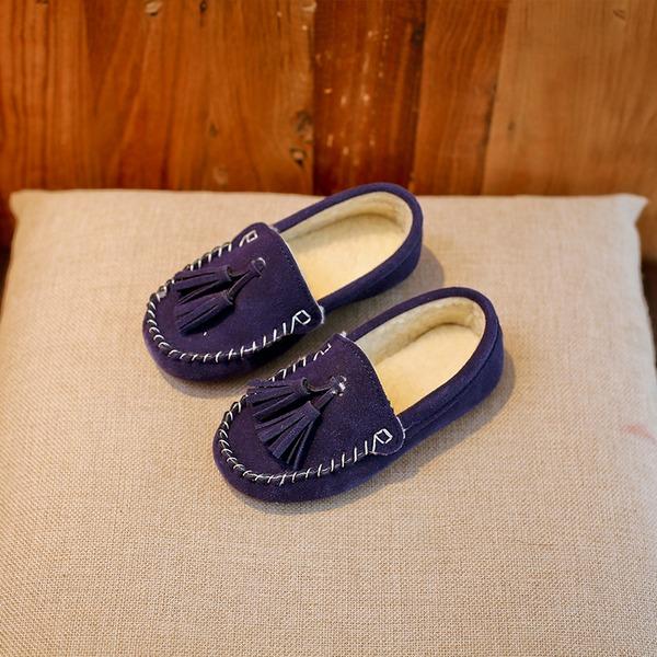 Fille de Suède talon plat Bout fermé Chaussures plates avec Tassel