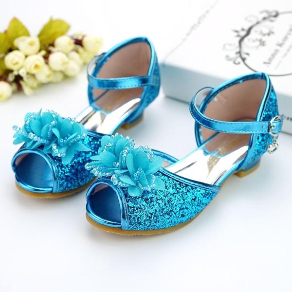 Flicka Peep Toe konstläder låg klack Pumps Flower Girl Shoes med Spänne Paljetter Glittrande Glitter Blomma