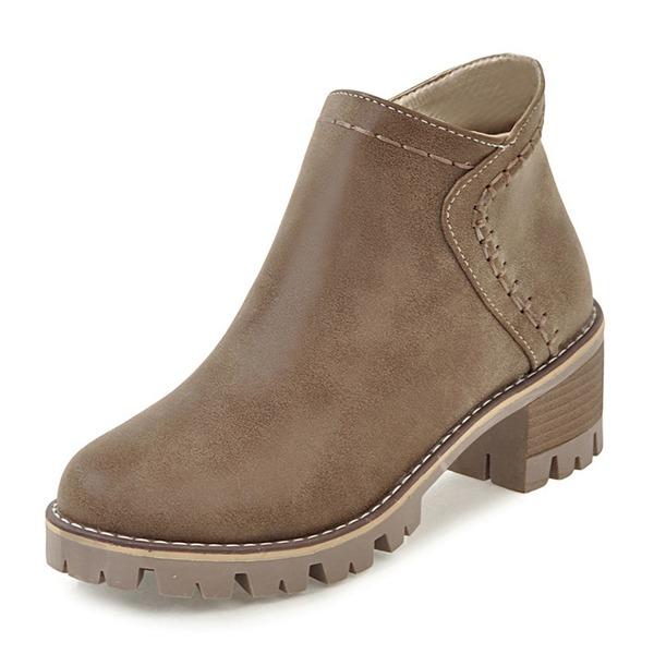 De mujer Cuero Tacón ancho Botas Botas al tobillo Martin botas con Cremallera zapatos