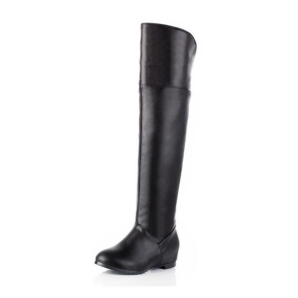 Naisten Keinonahasta Matala heel Suljettu toe Kengät Knee saappaat Yli saappaat jossa Muut kengät