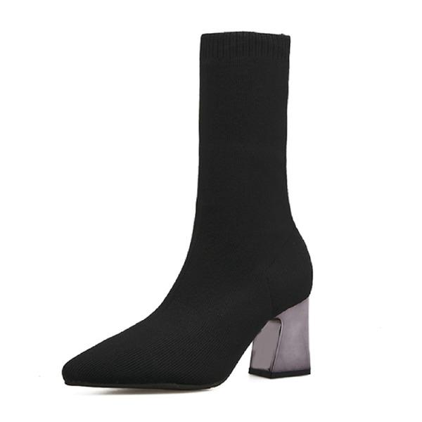 Kadın Süet Kalın Topuk Pompalar Kapalı Toe Bot Mid-Buzağı Boots ayakkabı