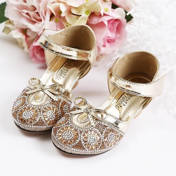 Girl's Closed Toe Sparkling Glitter Flower Girl Shoes With Velcro