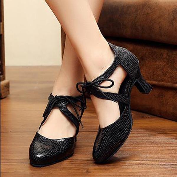 Женщины кожа На каблуках Бальные танцы с Шнуровка Обувь для танцев