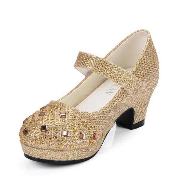 Muchacha Punta Cerrada Cuero de Microfibra Tacón alto Salón Zapatos de niña de las flores con Rhinestone