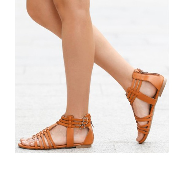 Women's PU Flat Heel Sandals Flats Ankle Boots With Others shoes