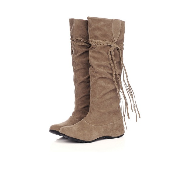 Suede Low Heel Knee High Boots shoes