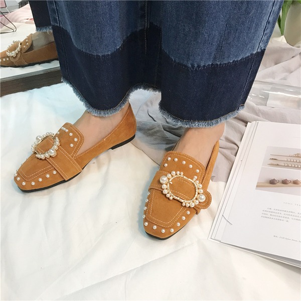 Women's Suede Flat Heel Flats Closed Toe With Rhinestone Imitation Pearl Rivet shoes