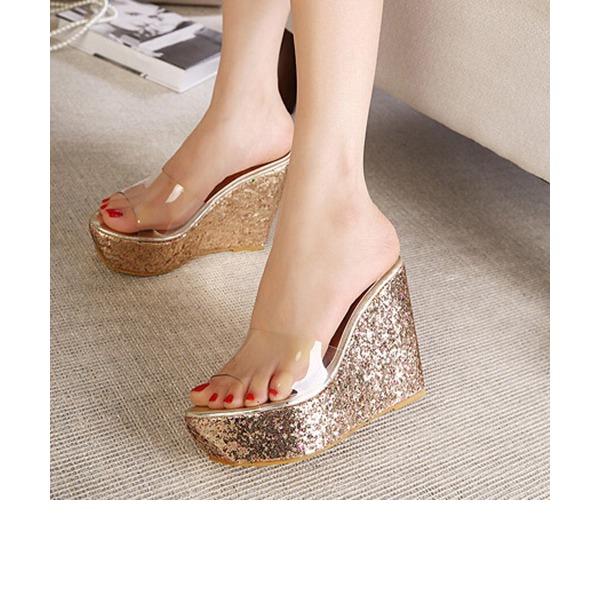 Frauen PVC Keil Absatz Sandalen Keile Pantoffel mit Schmuckabsatz Schuhe