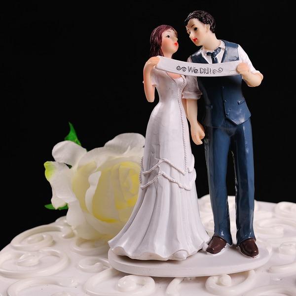 """Figurine """"Vi Gjorde"""" Harpiks Bryllup Kake Topper"""