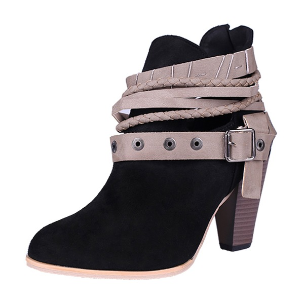 Women's Suede Chunky Heel Pumps Closed Toe Boots Ankle Boots Mid-Calf Boots Martin Boots With Rivet Buckle shoes