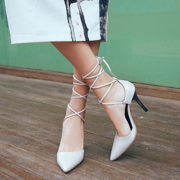 Kvinnor Konstläder Stilettklack Sandaler Pumps Stängt Toe med Bandage skor