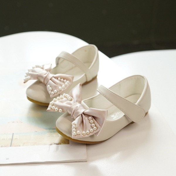 Girl's Mary Jane Microfiber Leather Flower Girl Shoes With Beading Bowknot Velcro