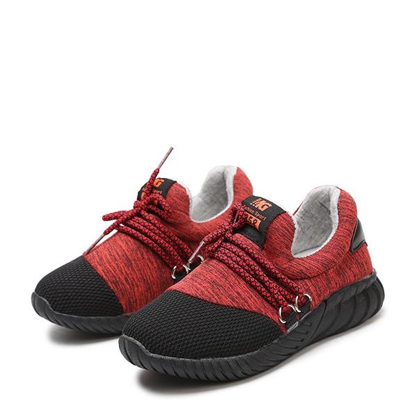 Unisexe en tissu talon plat bout rond Chaussures plates avec Dentelle