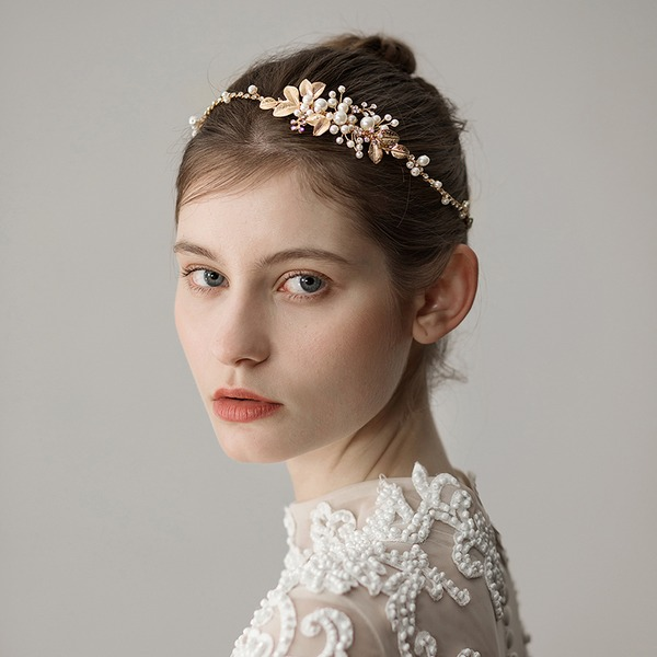 Ladies Elegant Alloy Headbands With Venetian Pearl (Sold in single piece)