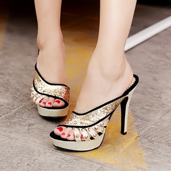 Naisten Keinonahasta Piikkikorko Sandaalit Platform Peep toe jossa Niitti Kuohuviini glitteri Ontto-out kengät