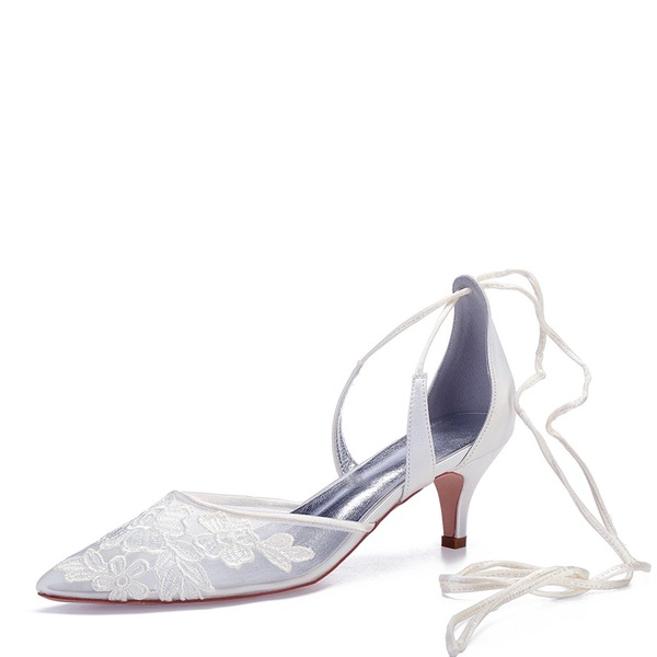 Women's Mesh Flat Heel Closed Toe Pumps With Lace-up Applique