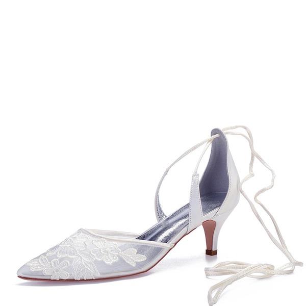 Kvinnor Mesh Flat Heel Stängt Toe Pumps med Bandage Applikationer