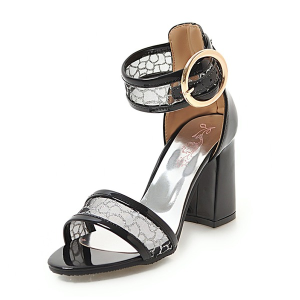 Femmes Mesh PU Talon bottier Sandales Escarpins À bout ouvert avec Boucle chaussures
